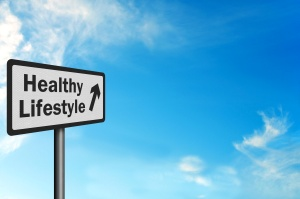 Photo realistic 'healthy lifestyle' sign with space for text ove