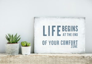 motivational poster quote LIFE BEGINS AT THE END OF COMFORT ZONE
