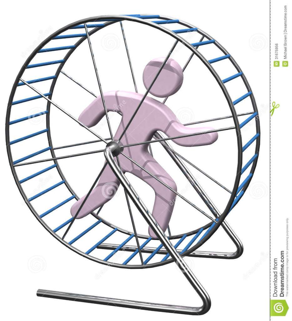 person-run-treadmill-rat-cage-gets-nowhere-running-hamster-mouse-wheel-31675956